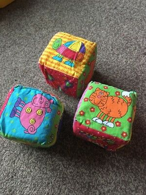 3 Babies Soft Cubes/Sorting Blocks With Animal Designs. Suitable From Birth