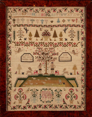 Mary Gollins exquisite stitched sampler dated 1777 mounted and framed. Unique!