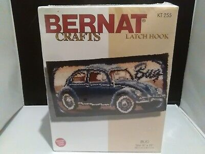 Bernat Crafts Latch Hook Kit Bug Volkswagen Beetle Unused Sealed Box