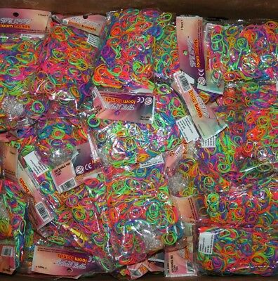 Job Lot Wholesale 117 Bags of New Stock Rainbow Loom Bands and Clips Joblot