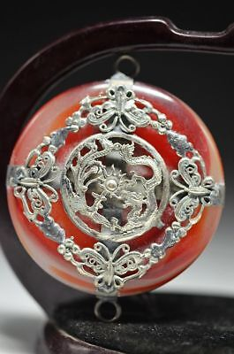 Exquisite Chinese Handmade Inlay Red Agate Butterfly / Dragon / Phoenix Pendant