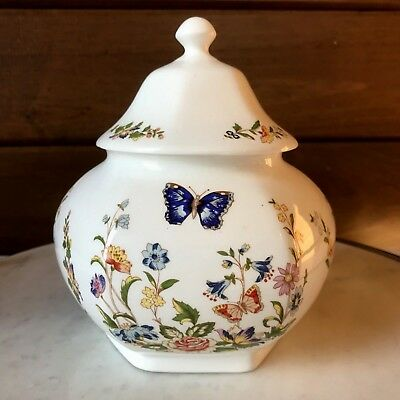 AYNSLEY Cottage Garden Covered Caddy Hexagonal Large Bone China England Floral