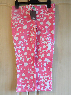 GIRLS MINI BODEN 3/4 LENGTH CROPPED TROUSERS JEANS AGE 12 pINK & FLORAL BNWT