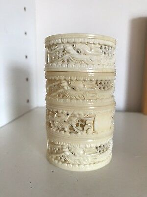 Antique Chinese 19th Century Carved Bovine Bone Napkin Rings**The UK Buyers Only