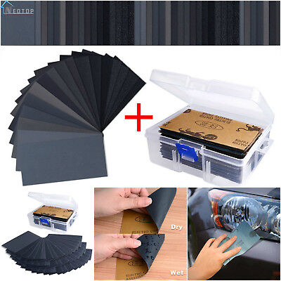"102 Pieces Sandpaper Assorted Wet Dry 60 3000 Grit 3x5.5"" Abrasive Paper Sheet"
