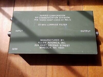 HARRIS CORPORATION, RF 25 Mhz LOWPASS FILTER, 200 Watts Allen avionics Ham Radio