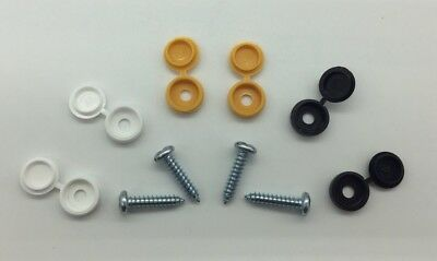 Number Plate Fixing Fitting Kit Qty 6 Hinge Caps & Screws White Black Yellow