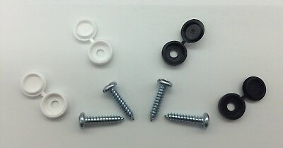 FRONT Number Plate Fixing Fitting Kit Qty 4 Hinge Caps & Screws White Black