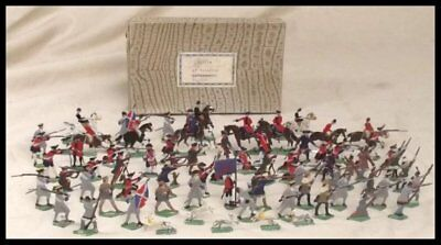 "Vintage Tin Flats ""Battle of Waterloo Lifeguards"" Soldiers, 72 Figure Set"