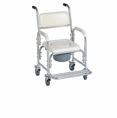Healthline Trading Aluminum Shower Chair/Bedside Commode W/casters & Padded Seat