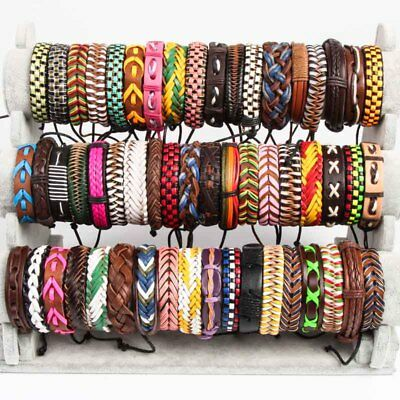 Wholesale lots 30pcs Mix Style Genuine Handmade Leather Cuff  Bracelet Wristband