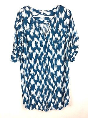 A Pea In The Pod Maternity Medium Button Down Blouse Top Shirt Blue White BB13