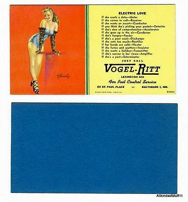 "1940's-1950's Billy DeVorss ""Glovely"" Litho Pinup Advertising Ink Blotter unused"