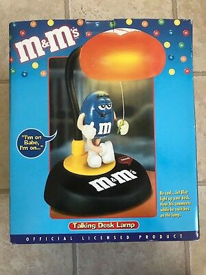 M&M's Talking Lighted Desk Lamp ~ Vintage Collectible ~ New in Box ~ Red & Blue