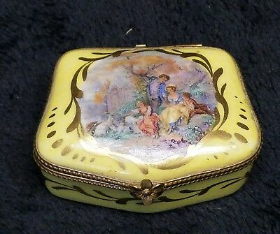 Sevres French Porcelain Antique Brass Hinged pill box needs repair priced accord