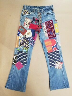 Vintage Levis 646 Patched Hippie Jeans Orange Tab Scovill Zipper 30x30 Early 70s