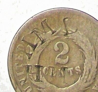 "CIVIL WAR ERA ~ OLD ~ ""1864"" TWO CENT PIECE ~ COUNTERSTAMPED ~  ON the REVERSE!"