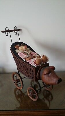 Antique 1890-1900 Wicker Doll Stroller With Wooden Handcarved Piggy Head