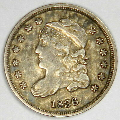 1836 Capped Bust Half Dime Large 5 ~ Nice Original Vf/xf ~  Priced Right!
