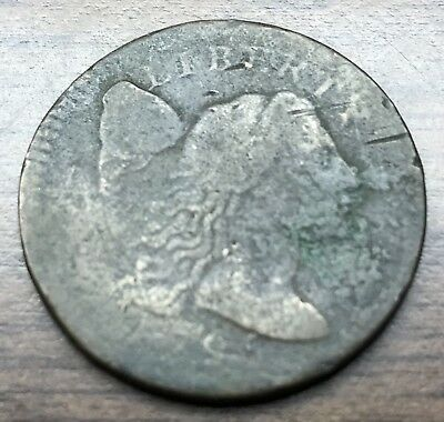 1795 1C Plain Edge Flowing Hair Large Cent coin