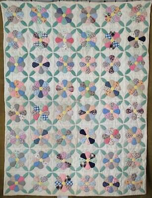 "Depression Era Vintage Applique Flower QUILT Stacker 81"" x 60"""