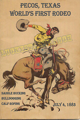 Pecos, TX World's First Rodeo  Cowboy Cowgirl Vintage Rodeo Posters