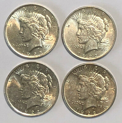 A Lot of 4 $1 1922 Silver Peace Dollars