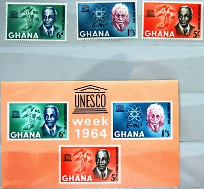GHANA 1964 195-97 Block 13 189-191a Human Rights Day Einstein Carver UNSECO MNH