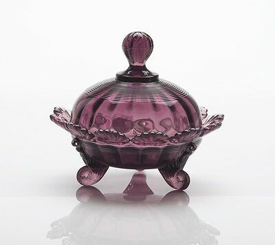 Covered Candy Dish / Berry Bowl - Amethyst Glass - Mosser USA