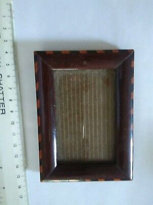 small vintage wooden treen inlaid photo frame