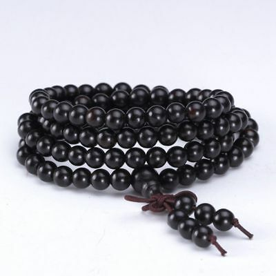 Natural Ebony 108 Grain Monks Beads Prayer Buddhist Hand Strings And Necklace