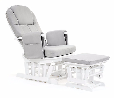 Mothercare Reclining Glider & Footstool - White with grey cushion [Grade B]