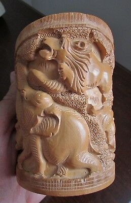 Vintage Highly Carved Wood Brush Pot Pen Holder Lions Elephants Deer Trees