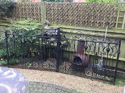 Antique Art Nouveau Double Gates - Wrought Iron, Hand Forged, Riveted Strapped