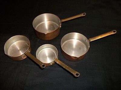 Vintage Copper And Brass Measuring Cups Skillet-Shape-1.5 C, 1 C, 1/2 C Heavy!!!