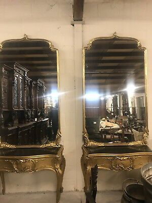 Stunning, 19thC, PAIR French Antique Console Tables And Mirrors,