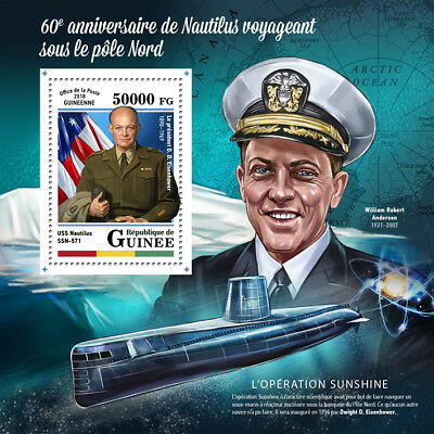 Guinea 2018 MNH Nautilus North Pole 1v S/S Submarines Boats Ships Stamps