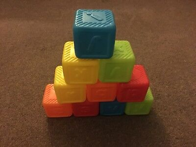 10 Multicoloured Toy Stacking Blocks