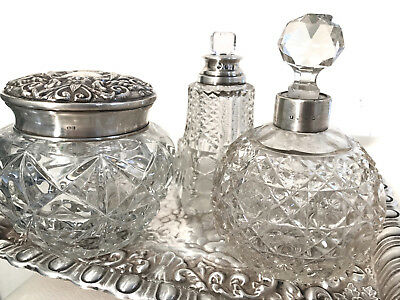 ANTIQUE VICTORIAN SOLID SILVER DRESSING TABLE SET&3pcs BACCARAT CRYSTAL &1.402 g
