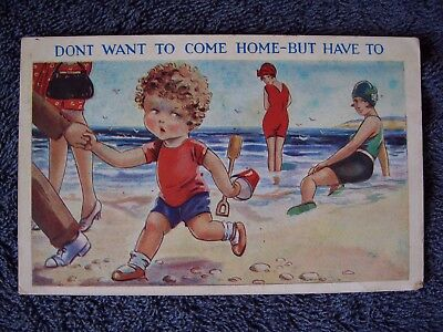 """Delightful"" Comic Seaside Postcard ""DON'T WANT TO COME HOME"" Posted 1932."