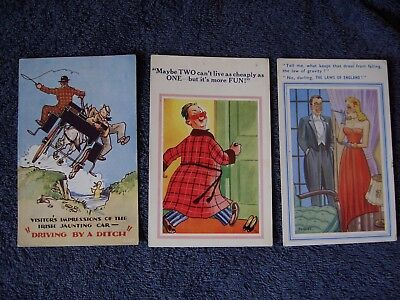"3 Comic postcards ""DRIVING BY A DITCH"" ""IT'S MORE FUN"" & "" THE LAWS OF ENGLAND"""