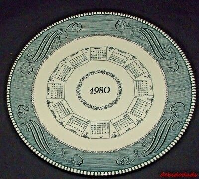 Vintage Royal China Blue & White 1980 Calendar Plate Collectible