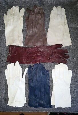 Vintage Gloves Lot of 7 Pairs Leather 2-Italy 1-Ann Taylor white, beige, brown