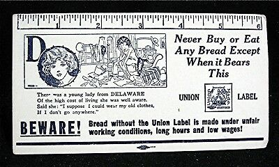 Old Bakers Union Label Unfair Work Conditions Bread Adv Ink Blotter