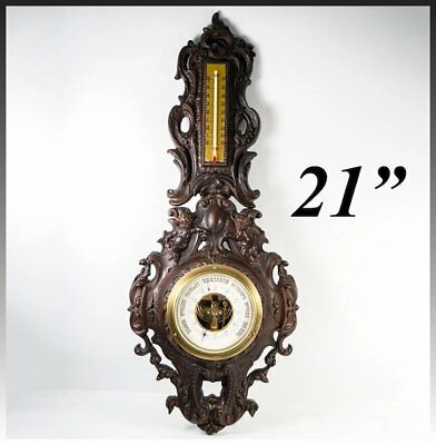 "Antique Victorian French 21"" Gutta Percha Barometer, Thermometer for Wall Mount"