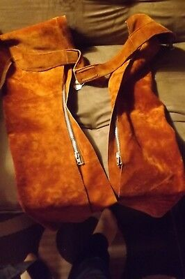 Horse Riding Chaps Soft Brown Rust Suede Leather Zippers Talon Adjustable
