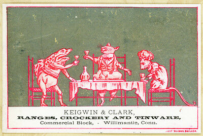 Dressed Frog Mice Party Silver Rare Keigwin Clark Antique Victorian Trade Card
