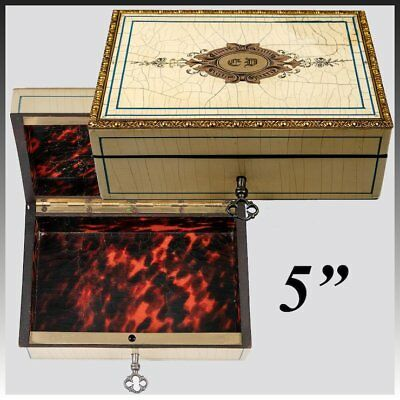 Stunning Antique French Jewelry Box, Cigar Casket, Boulle Work, Lock w Key