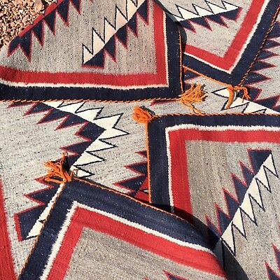 Beautiful Old Navajo Rug With Deep Blue Color Near Mint Condition N R.