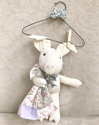 COUNTRY CRITTER FABRIC PIG CHRISTMAS ORNAMENT | Plush Animal Quilt Hanger